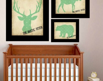 Vintage Woodland Animal Silhouette Collection - Nursery Art - Wall Collection - Woodland - Forest Animals - Shabby Chic - Gender Neutral