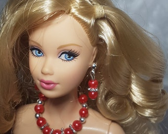 Red jewelry for Barbie and other fashion dolls
