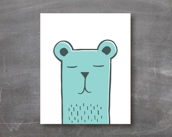 Bear art print, kids room, wall art, poster