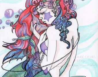 "Ocean Art Print, ""Seafoam The Mermaid"" Fantasy Home Decor, Gift, water scene, aqua, coast, seashell, dreamy"