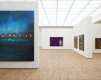 City night, XXL large format, 150 x 125 cm, landscape, imitation gold-gold, blue, black and gold, unique