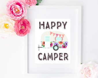 "8x10 ""Happy Camper"" + Retro Floral Camper Printable and Instant Download"