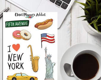 I Love New York Planner Stickers | Travel Stickers | New York Stickers | America Stickers | Wanderlust | Statue of Liberty (S-114)