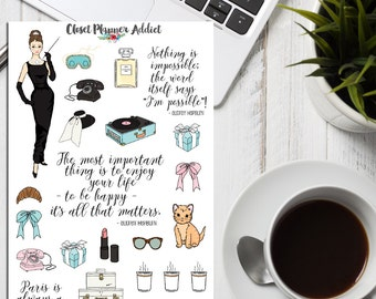 Breakfast At Tiffany's Inspired Illustrated Planner Stickers (S-144)