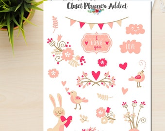 Love Is In The Air Planner Stickers | Love Stickers | Valentine's Day | Wedding Stickers | Blush Pink (S-029)