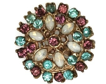 Vintage rhinestone round brooch turquoise and pink jewels oval opalescent stones