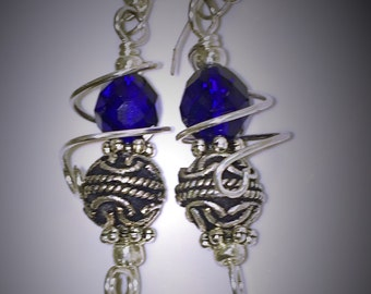 Blue Dangle Earrings, Blue Dangle Earrings wrapped withSterling Silver Wire