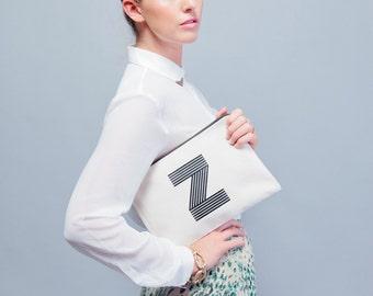 Monogram Clutch - Canvas Makeup Bag - Cosmetics Pouch - Makeup Pouch - Toiletry Bag - Canvas Zipper - Large Initial Pouch - Alphabet Bags