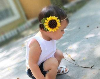 Sunflower | Sunflower Headband - Felt Sunflower Headband - Summer Headband - Baby Headband - Flower Headband - Fall Headband