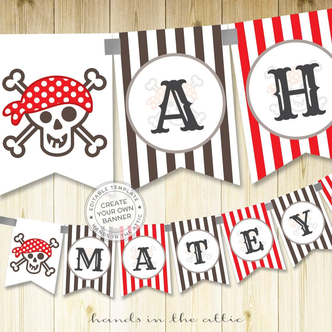 Pirate printable alphabet banner editable template pirate