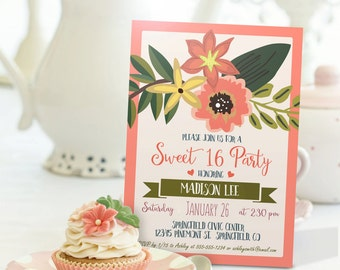 Spring Sweet 16 Invitation - Personalized Printable DIGITAL FILE