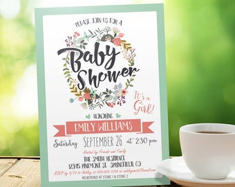 Boho Chic Baby Shower Invitation - Personalized Printable DIGITAL FILE