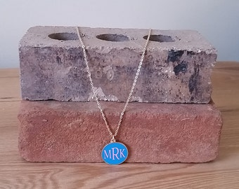 Bright Blue Enamel Disc Necklace, gold accent necklace, Blue and Gold Necklace