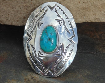 Native American Sterling Silver Hand Stamped Turquoise Concho Bolo Slide