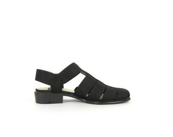 Vintage 90s Minimalist Shoes -- Elastic Strap Sandals - Black Flats - Cage Slingbacks - Cut Out Sandals - Mootsie Tootsies - Womens  8