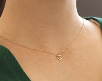 14K Gold Necklace, Diamond Necklace, Gold Heart Necklace, Heart Diamond Necklace, Dainty Gold Necklace, Gold Delicate Necklace, GN0331