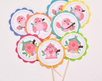 12 Baby Bird Cake Toppers - Bird Decoration for Party - Baby Shower Decoration - Birthday Cake Toppers - Baby Shower Cupcakes