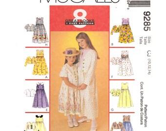 Girls Jacket & Dress Pattern McCalls 9285 Sleeveless Empire Prairie Dress, Cropped Jacket Tween Girl Sewing Pattern Size 10 12 14 UNCUT