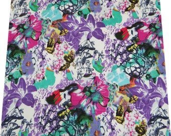 """42"""" Wide Multicolor Sewing Dress Making Indian Fabric Cotton Voile Floral Fabric Decorative Material Apparel Cotton Fabric By 1 Yard ZBC3154"""