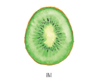 Kiwi Watercolor Painting, Food Illustration, Arte de Fruta, Fruit Art, For the Kitchen, Wall Art, Home Decoration, under 10