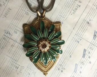 Shield of dreams - unique vintage assemblage necklace