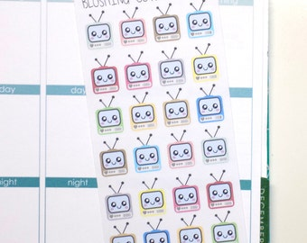 limited Quantity- Kawaii TV  Stickers To Use With Erin Condren Planner