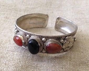 Dark Black Onyx  Coral Three Stone Tibetan/ Nepali Cuff Bracelet