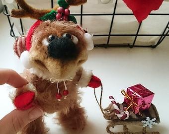 Christmas Teddy bear Thomas, super cute !!! Artist Teddy bear,handmade toy