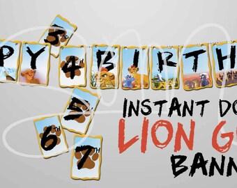 SALE 90% OFF Lion Guard Instant Download Birthday Banner-Party Supplies Kiara Kion Ono Fuli Bunga Beshte-Digital File printable