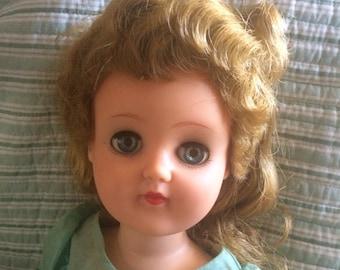 "Vintage Ideal Doll 3V-92 |  1950's Doll | Sleep Eyes | Walker| 19"" Doll"