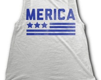 10% OFF SALE - 4th of July Womens Shirt - Merica Tank Top - America Tank Women - Flowy Tank Top