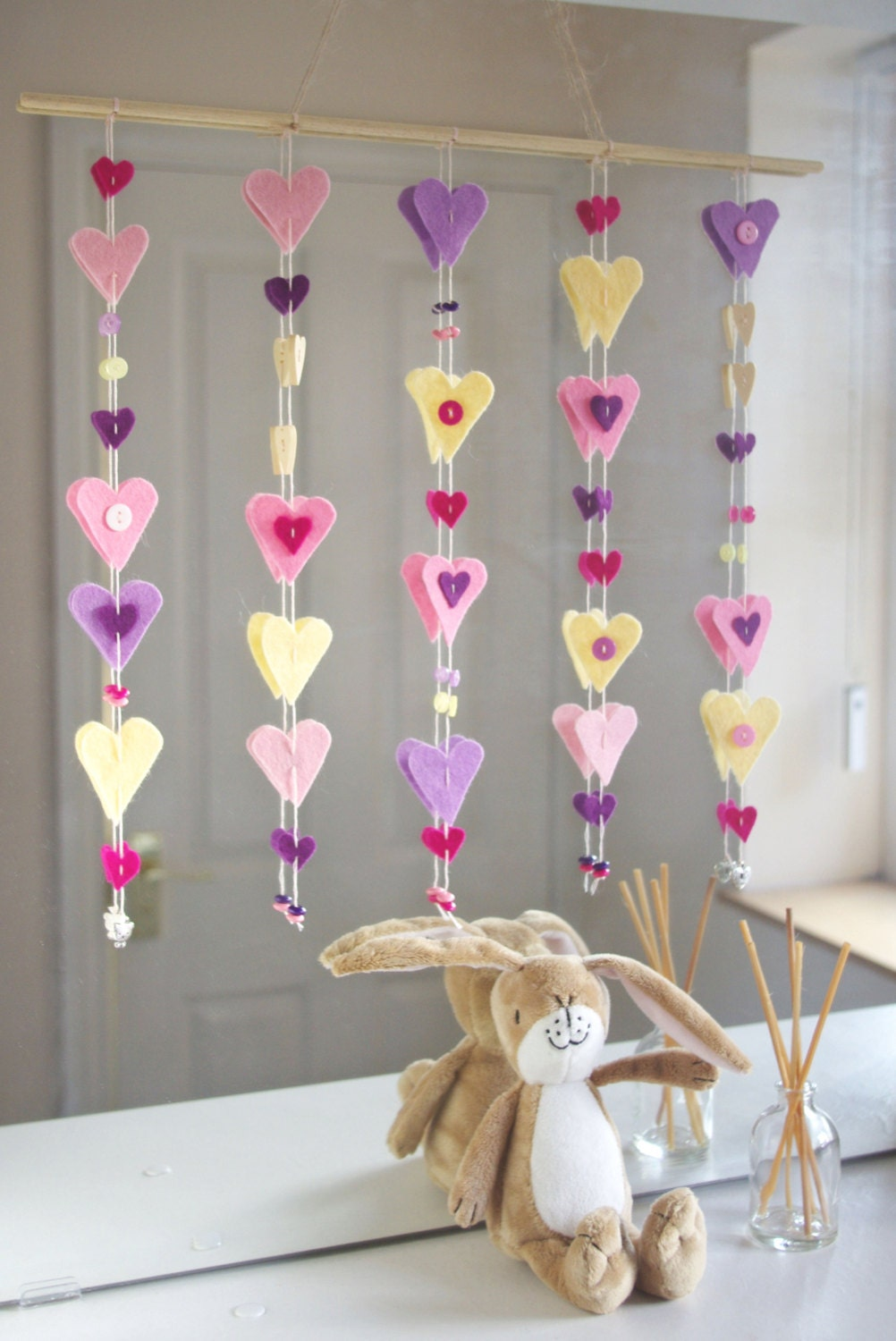 Heart nursery decor felt baby wall hanging cot wall art for Baby crib decoration