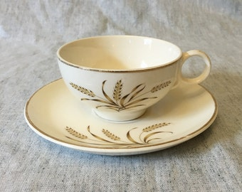 Vintage Universal Ballerina Wheat Pattern Cup and Saucer with Gold Trim, Mid Century Dishes, Wheat Dishes