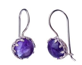 Purple Amethyst Gemstone Earrings, February Birthstone Earrings, Genuine Amethyst Jewelry, 925 Amethyst Dangle, Crown dangle earrings