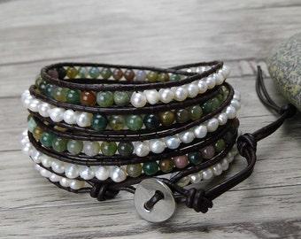 India agate and pearl wrap bracelet bead wrap bracelet agate bead bracelet Leather wrap bracelet pearl bracelet bohemian jewelry SL-0373