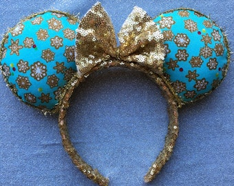 Gold Sequin Snowflake Holiday Christmas Minnie Mouse Ears