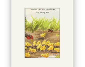 Chicken, Hen, Chicks story book art, Farm Animals matted and ready for frame, Perfect gift for your favorite Chicken Lover!