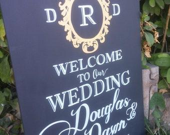 Welcome Wedding Chalkboard Monogrammed Chalkboard Wedding Sign Wedding sign Entrance Sign Chalk art Wedding Chalkboard Wedding
