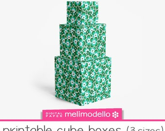 """Printable cube shape boxes """"Léontine"""" green , 3 sizes, Print at will, downloadable, DIY,"""