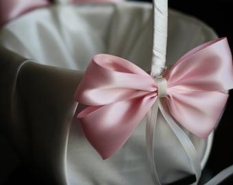 Ivory and Pink Flower Girl Basket \ Ivory Satin Wedding Basket and Pink Bow \ Wedding Ceremony Pink Basket \ Flowergirl Petals Round Basket