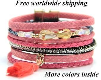 Boho Bracelet with Tassels, Womens Leather Bracelet, Hippie Bracelet, Cuff Leather Bracelet, Stuck Bracelet, Multistrand Bracelet
