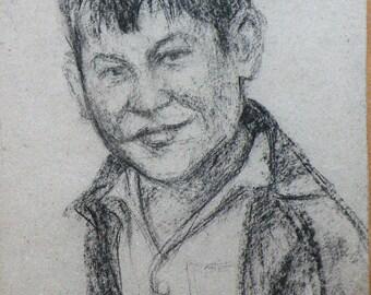 PORTRAIT of a boy VINTAGE Original Charcoal Drawing by V. Sandyuk, 1990s, One of a Kind, Not a Print, Handmade Signed Artwork