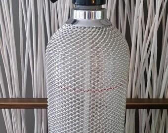 Large Soda Siphon, Silver Mesh, Seltzer Bottle