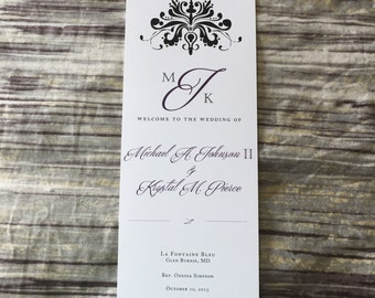 Damask Wedding Programs/Black,Plum,Cotton Cardstock-DEPOSIT