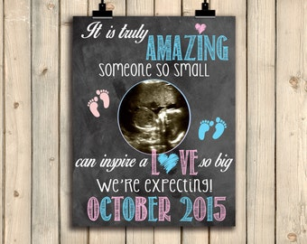 Ultrasound Pregnancy Announcement Sign, Chalkboard Pregnancy Announcement Sign, Cute Baby Announcement, Sonogram Love Phot Prop, DIGITAL