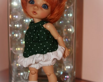Dress and bloomers for pukifee, Lati yellow, Tiny ....