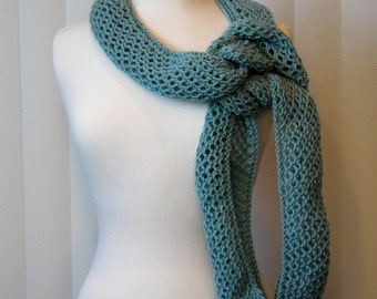Hand Knitted Wool Scarf, 100% Wool Knit Scarf, Green Knit WoolScarf