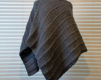 Women's Hand Knitted Poncho, Charcoal Grey Knit Poncho, Fall Knit Poncho