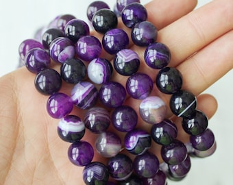 Purple Banded Agate 10mm Round Beads Jewelry Supply Bright Purple Agate