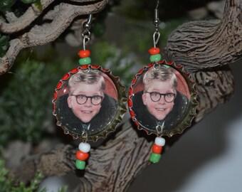 A Christmas Story Bottle Cap Earrings